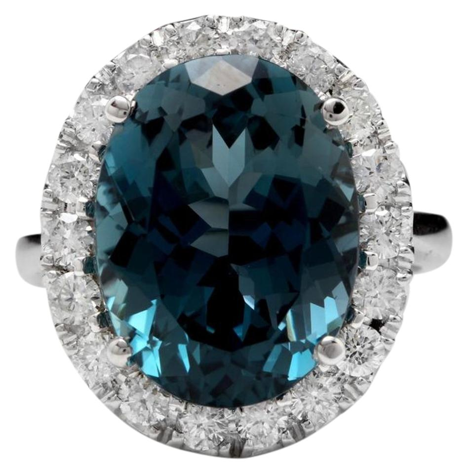 White Gold 13 20 Carats Natural London Blue Topaz And