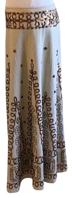Item - Cream Bronze Brown Tan And Silver Collection Skirt Size 10 (M, 31)