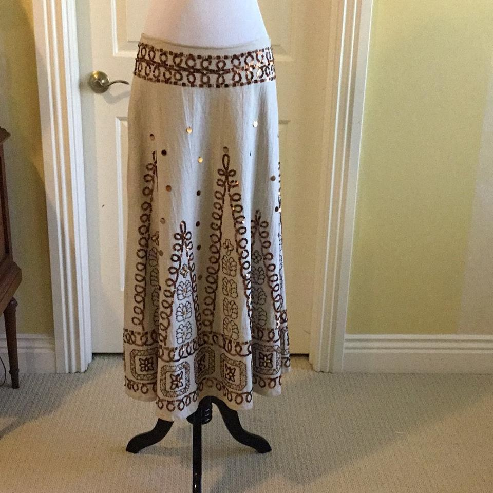 8d1b702348044 Basil & Maude Cream Bronze Brown Tan And Silver Collection Skirt ...