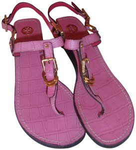 03ea4976299c Tory Burch Pink Leather Alligator Pattern Flat Ankle Strap Thong ...