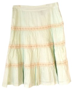 H&M Boho Cotton Lace Detail Skirt Mint Green