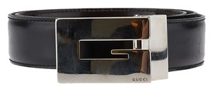 Gucci Gucci Black Leather & Silver Buckle Belt, Size 70/28 (38051)