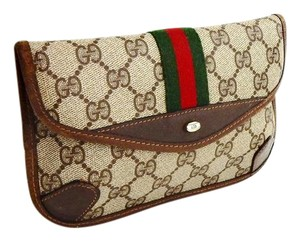 Gucci Vintage Webby GG Logo Canvas Leather Cosmetics Travel Toiletry Bag