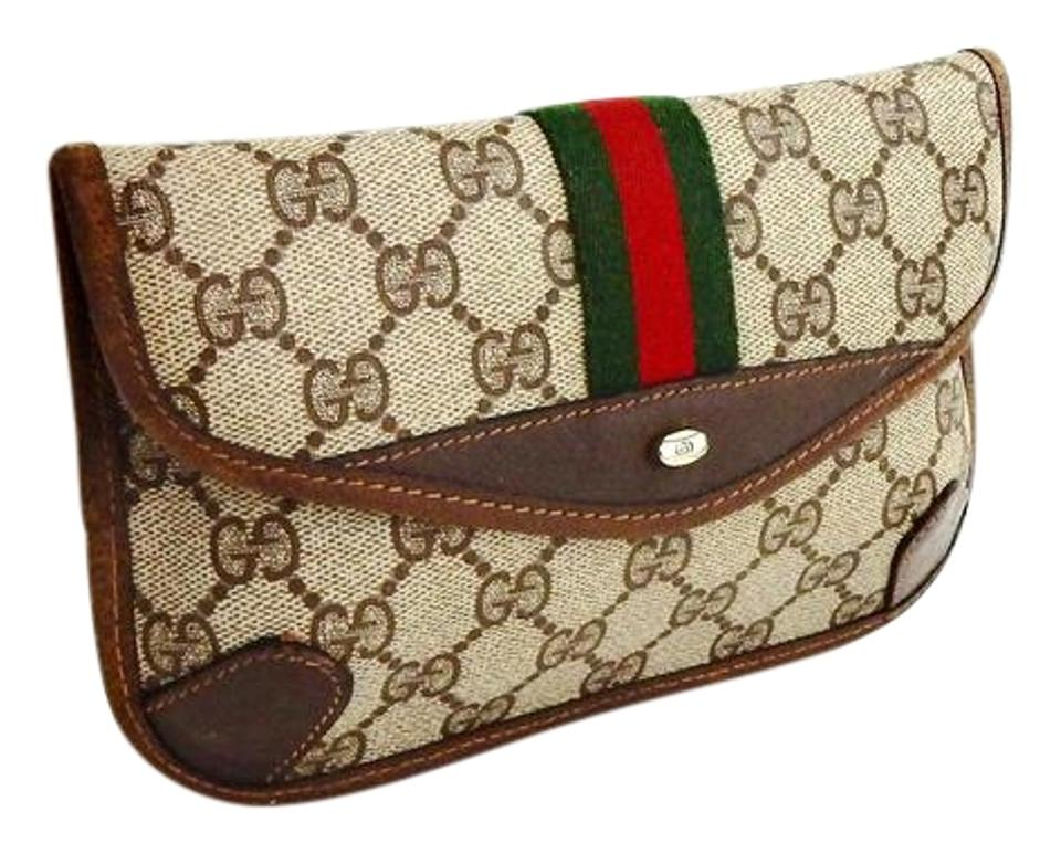 f6bd8ea98a90 Gucci Vintage Webby GG Logo Canvas Leather Cosmetics Travel Toiletry Bag  Image 0 ...