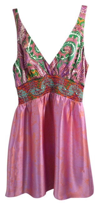 Alice & Trixie Floral Silk Tunic S Top Pink 4/6