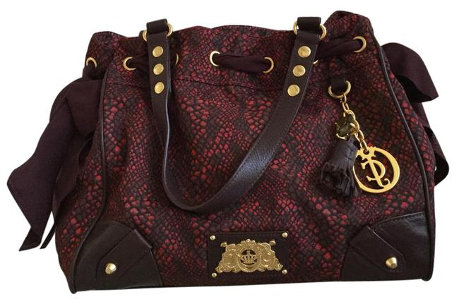 Juicy Couture Red and Burgundy Fabric Satchel Juicy Couture Red and Burgundy Fabric Satchel Image 1