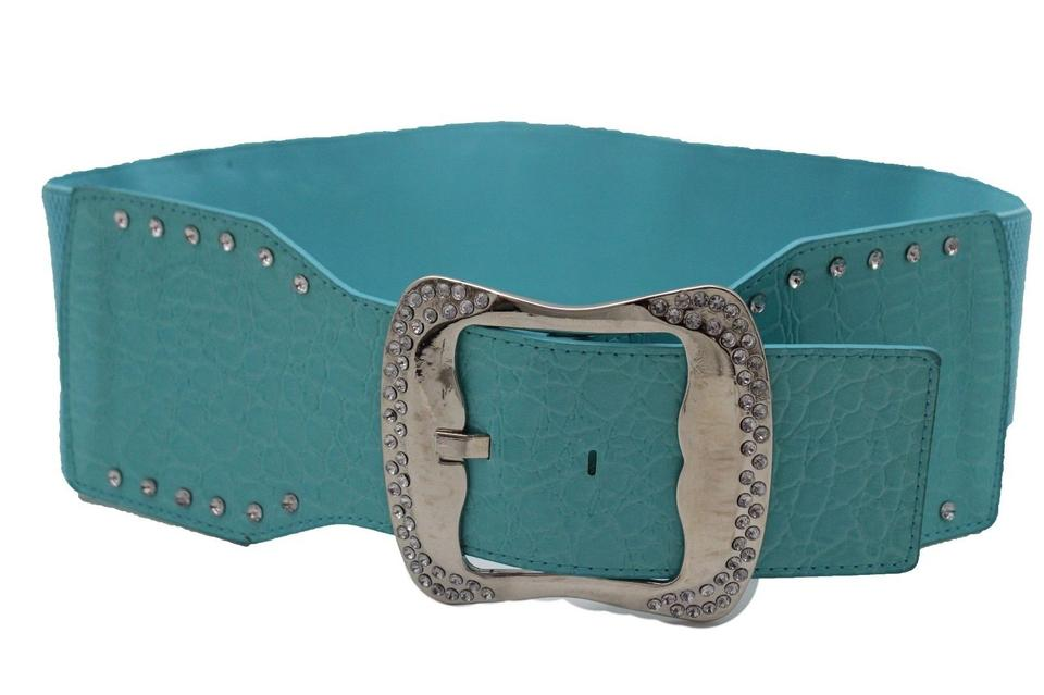 Women Lime Green Faux Leather Fashion Belt Hip High Waist Bling Buckle Size S M