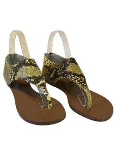 Vicini Snakeskin Leather Python Yellow brown black Sandals