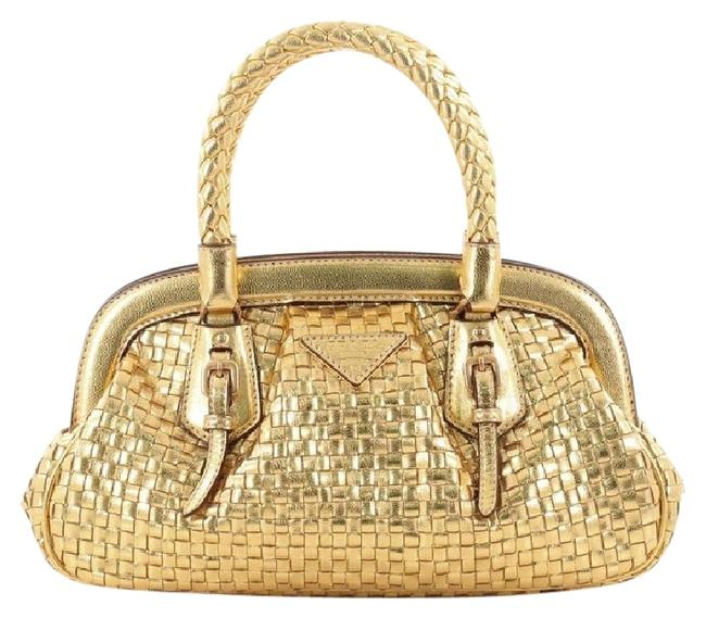 Item - Madras Frame Woven Mini Gold Leather Tote
