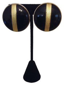 Accessory Lafy Black and Gold Cip Earrings
