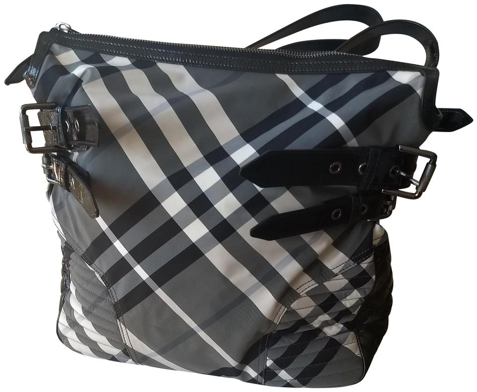 Burberry Plaid Large Black And White Check Nylon Weekend Travel Bag 58 Off Retail
