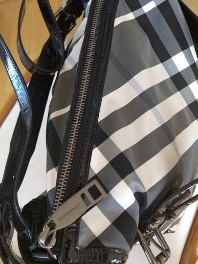 Burberry Checkered Oversized Monogram Logo Patent black and white check Travel Bag Image 3