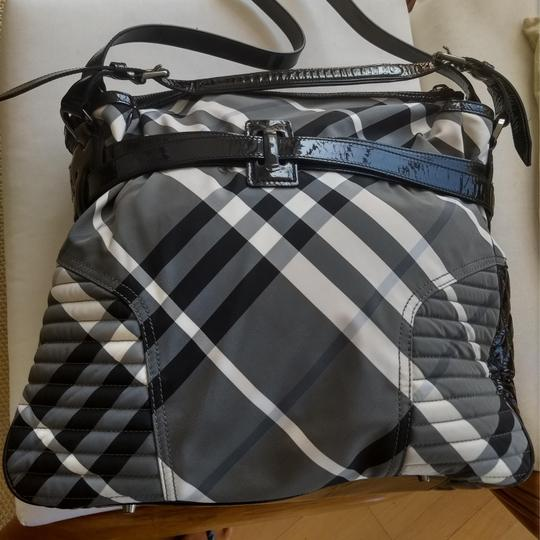 Burberry Checkered Oversized Monogram Logo Patent black and white check Travel Bag Image 2