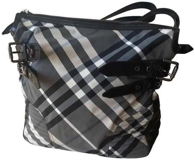 Item - Xtra Large Plaid/ Large Black and White Check / Plaid Nylon with & & Leather Patent Trim Handles Weekend/Travel Bag