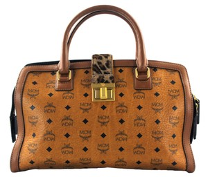 MCM Tote in Brown/Green