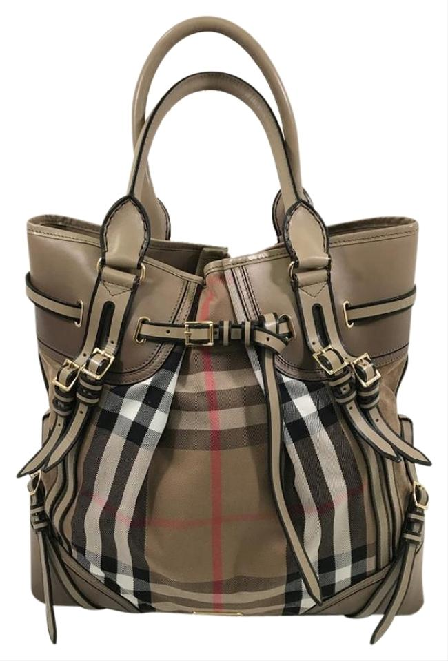 b7de790fd53 Burberry Extra Large Bridle House Check Whipstitch Plaid Leather ...