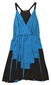 Cynthia Steffe Pleated Color-blocking Stretchy Silk Polyester Dress