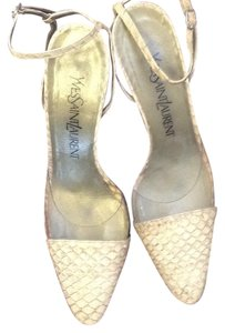 Saint Laurent Beige snake with perspex. Pumps
