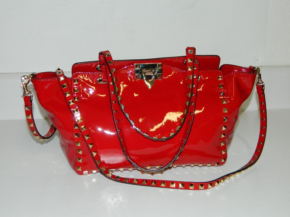 Valentino Patent Leather Studded Tote In Red 123456789101112