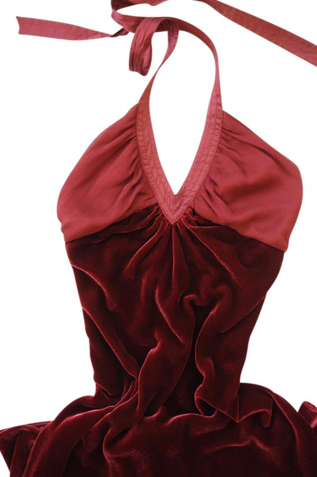 67616d9c3dc Catherine Malandrino Burgundy Halter Party Cocktail Velvet A-line Relax Wine  Night Out Dress