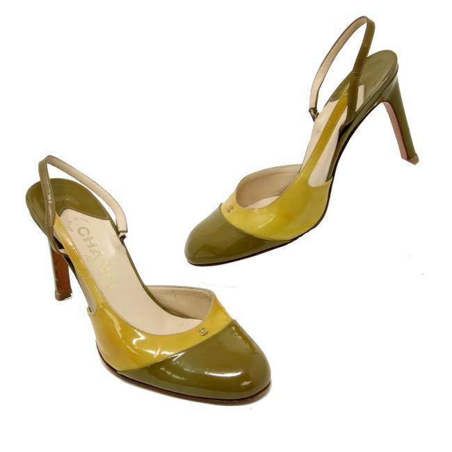 Item - Multi-color Signature Two Tone Cc Monogram Patent Leather Heels Made In Italy Pumps Size US 6 Regular (M, B)