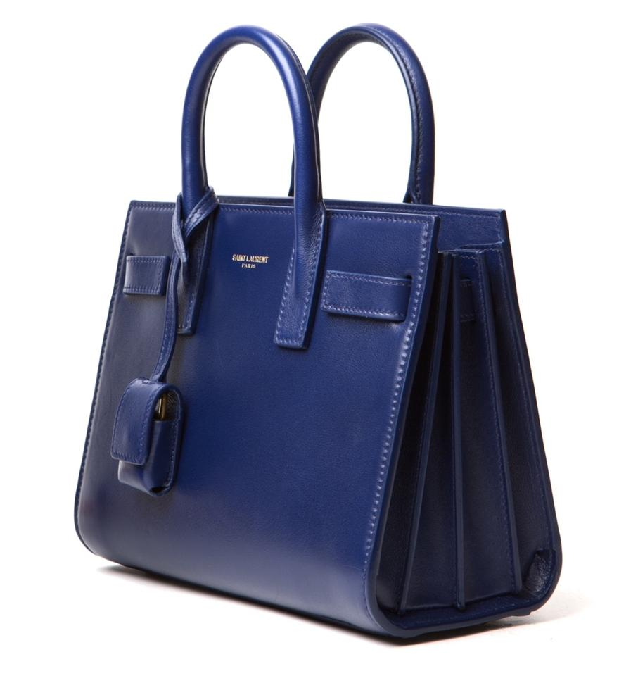 69fb97656e Saint Laurent Sac de Jour Large Navy Blue Calfskin Leather Tote 31% off  retail