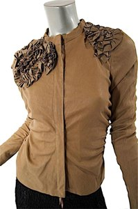 Valentino Lamb Leather Applique Brown Jacket