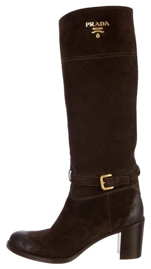 Prada Designer Luxury Chic Suede Logo Kneehigh Brown Boots
