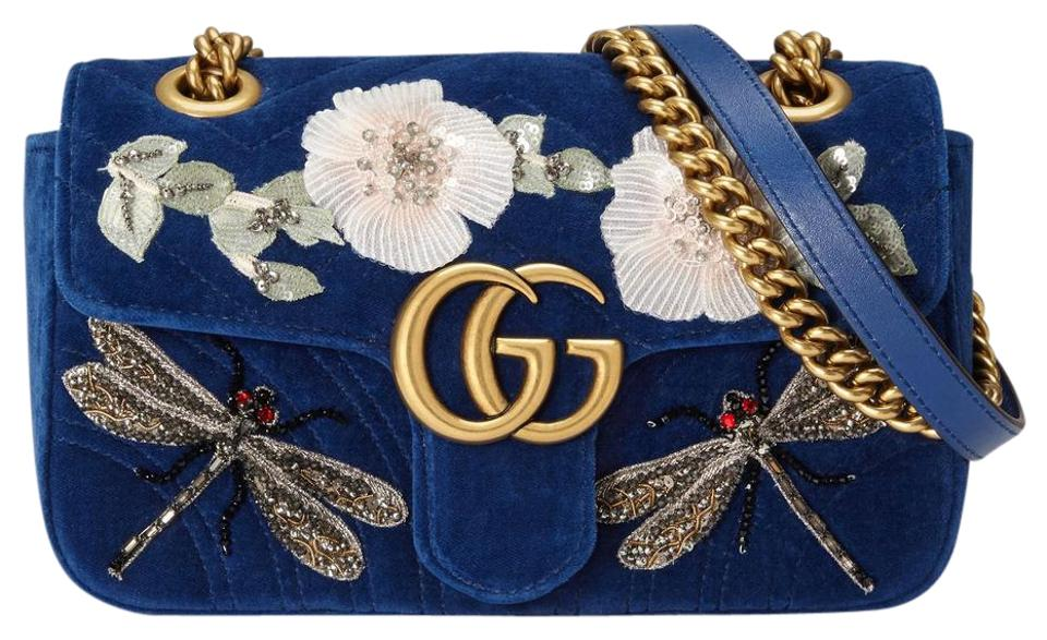 6fe33efabb1 Gucci Marmont New Gg Emobroidered Velvet Mini Cobalt Blue Leather ...