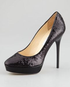 Jimmy Choo Leather Cosmic Sequin Stiletto Platform Black Pumps