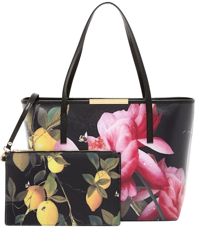 0c1d917162 Ted Baker Bag Joanie Citrus Bloom Black Floral Leather Tote - Tradesy