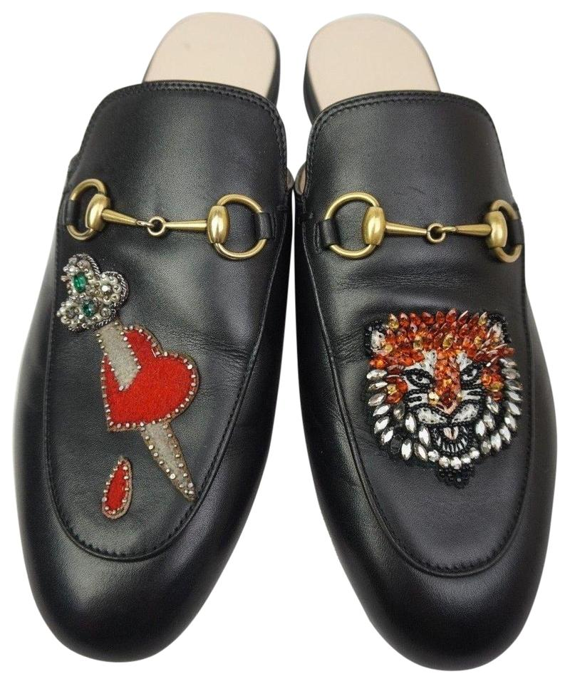 ae76bd075019 Gucci Black Princetown Crystal Sword Heart Tiger Loafer Women s ...