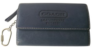 Coach Blue Coach Leather Coin Purse Wallet