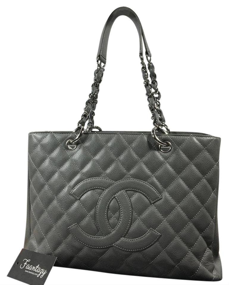 chanel gst grand shopping caviar grey tote bag on tradesy. Black Bedroom Furniture Sets. Home Design Ideas