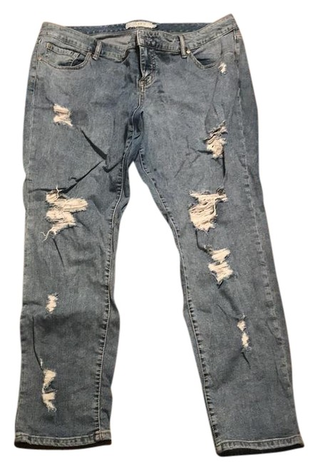 Item - Blue Distressed Boyfriend Cut Jeans Size 18 (XL, Plus 0x)
