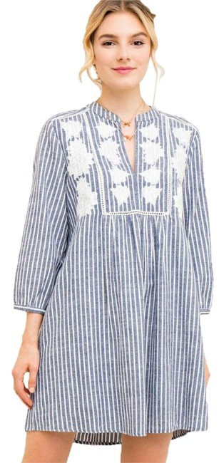 entro Denim Blue Striped Baby-doll with Floral Embroidery