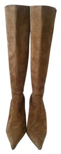 1 Madison Stretchy Suede Stilletto Pointed Toe Knee High Camel Boots