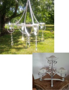 Sweet Romance Silver Chandelier & Unity Candle Set ~ Vintage Ceremony Decoration