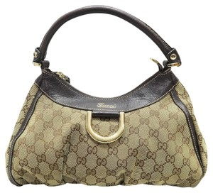 Gucci Canvas D-ring Hobo Bag
