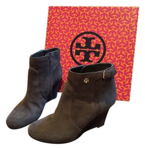 Tory Burch Wedge Suede Lan Grey Boots