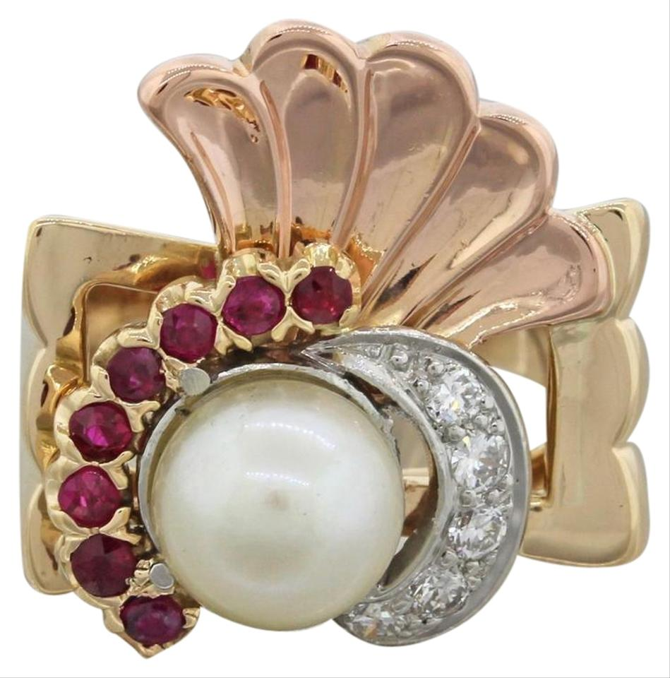 yellow antique art deco estate 18k solid rose gold pearl ruby diamond ring tradesy. Black Bedroom Furniture Sets. Home Design Ideas