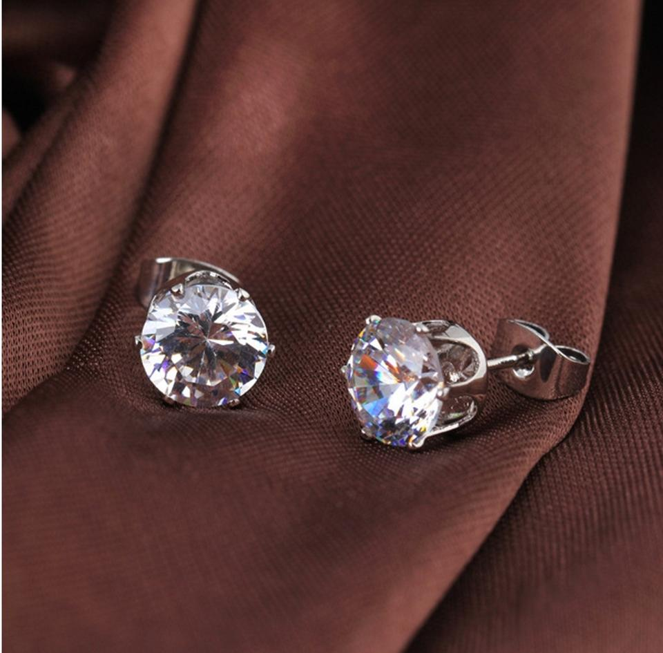 Clear Stud Crystal Cubic Zirconia Bridesmaid Cz Post Earrings