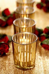 Gold Stripes Party Glass Holders 3 Inch Set Of 4 Votive/Candle