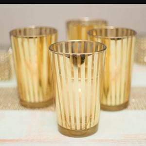 Gold Stripes Party Glass Holders 2.5 X 4.25 Inch Set Of 4 Votive/Candle