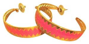 J.Crew Gold & Hot Pink Hoop Earrings