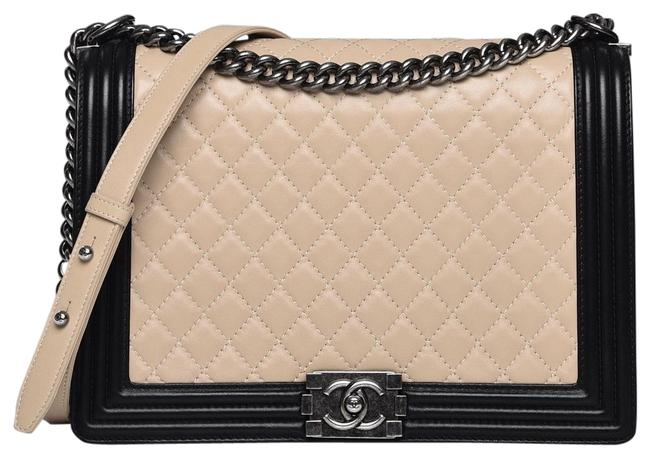 Item - Boy Tote Cc Quilted Black Two Ways Beige Lambskin Leather Shoulder Bag