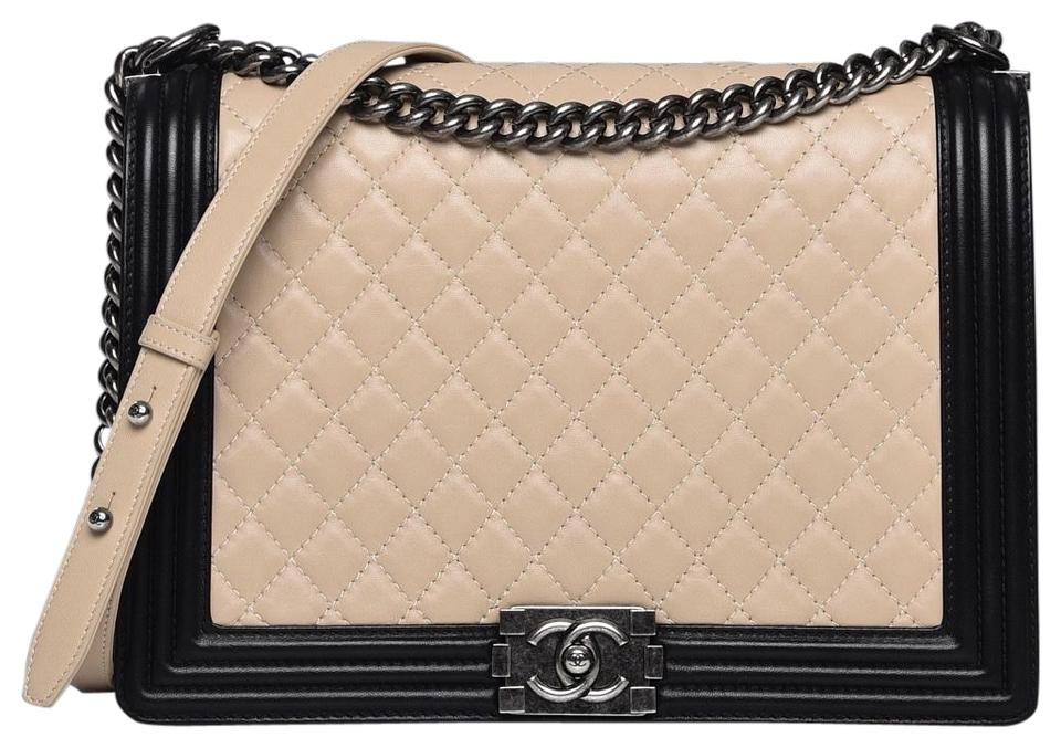 90a76d41d6ae7d Chanel Boy Tote Cc Quilted Black Two Ways Beige Lambskin Leather Shoulder  Bag
