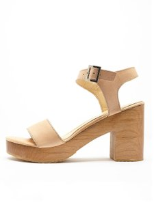 656ff7d904 American Apparel Nude Leather Wooden Sandals Size US 7 Regular (M, B ...