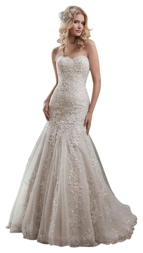 Justin alexander taupe ivory lace tulle 8793 feminine for Taupe lace wedding dress