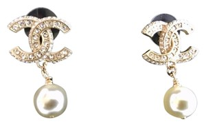 Chanel CC Crystal Encrusted Pearl Drop Pierced Earrings
